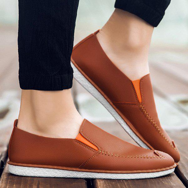 Dresslily Round Toe Faux Leather Slip On Shoes