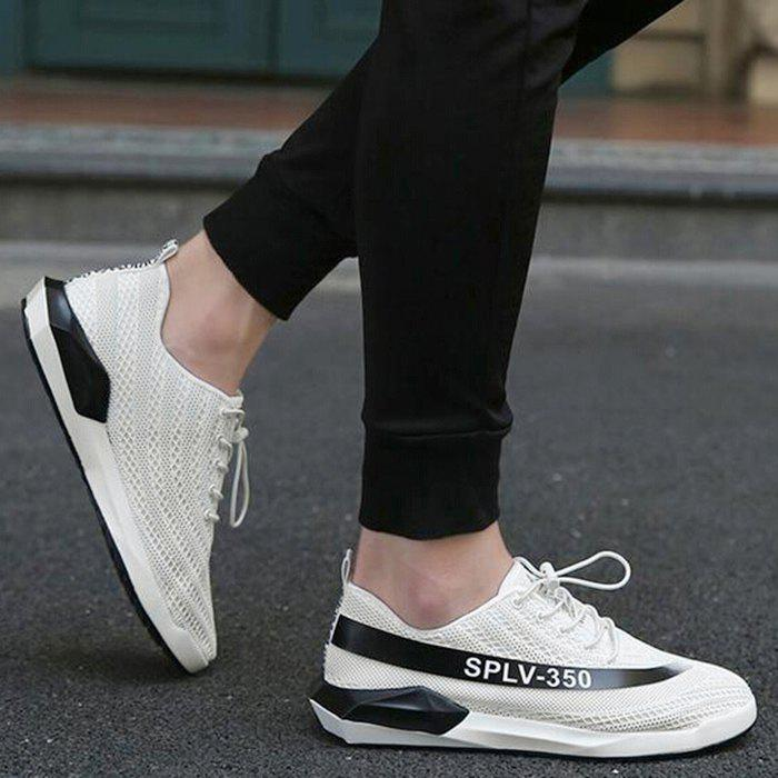 Mesh Color Block Low-Top Sneakers - WHITE 43