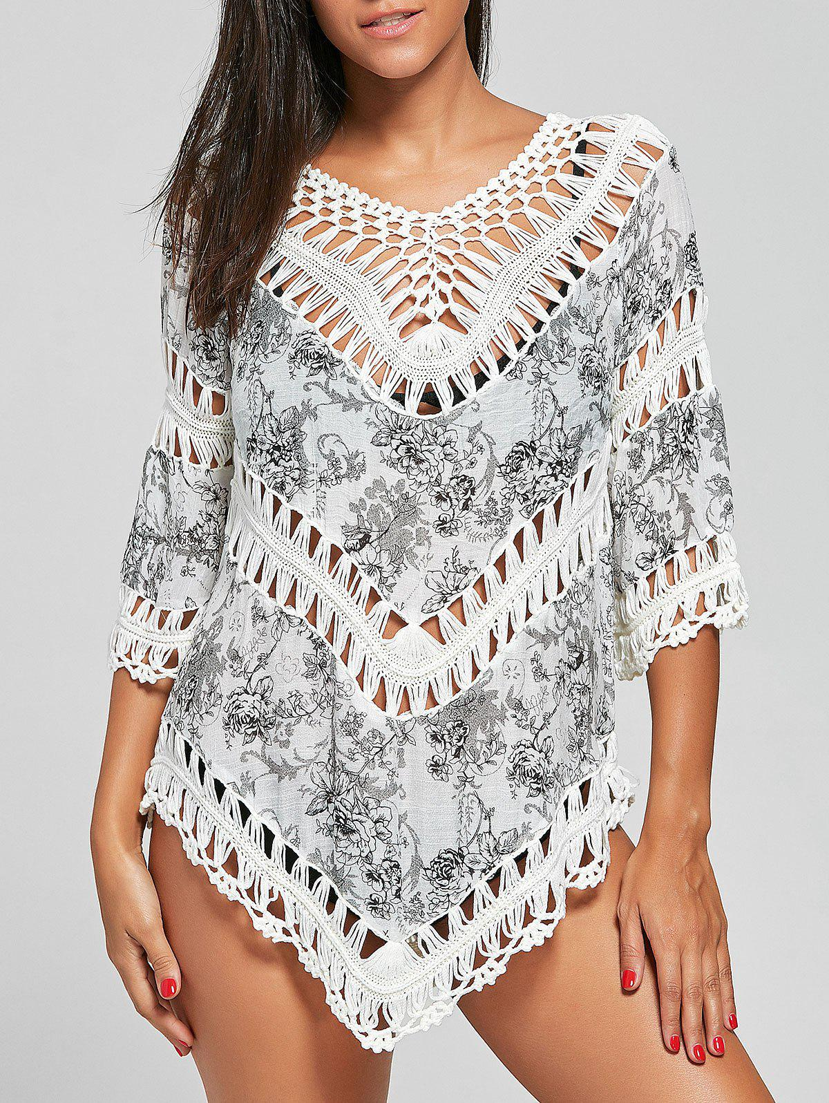Crochet Insert Floral Tunic Cover-Up - COLORMIX ONE SIZE