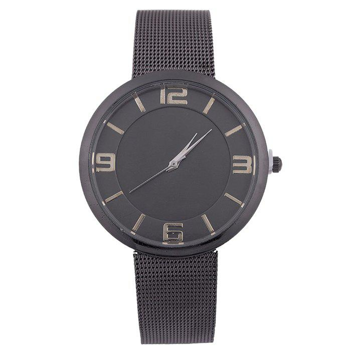 Mesh Alloy Band Number Watch - BLACK