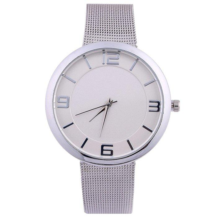 Mesh Alloy Band Number Watch - SILVER