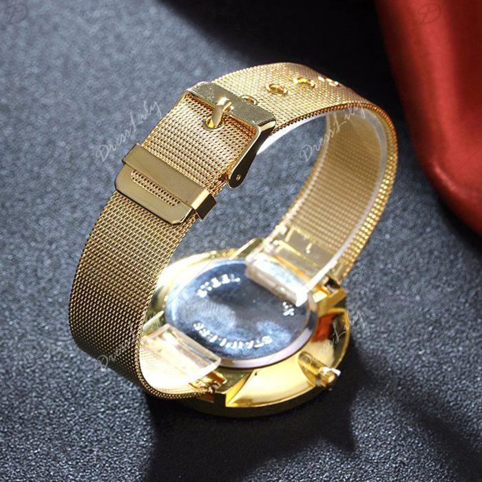 Mesh Alloy Band Number Watch - GOLDEN