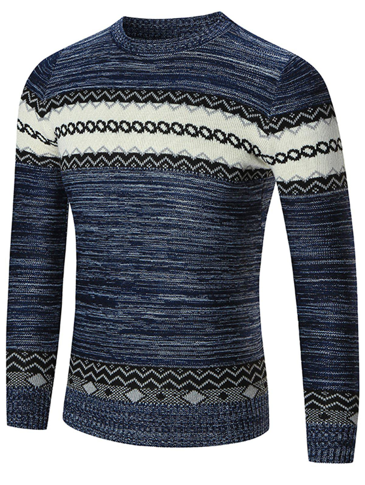 Crew Neck Geometric Pattern Space Dyed Sweater - BLUE M
