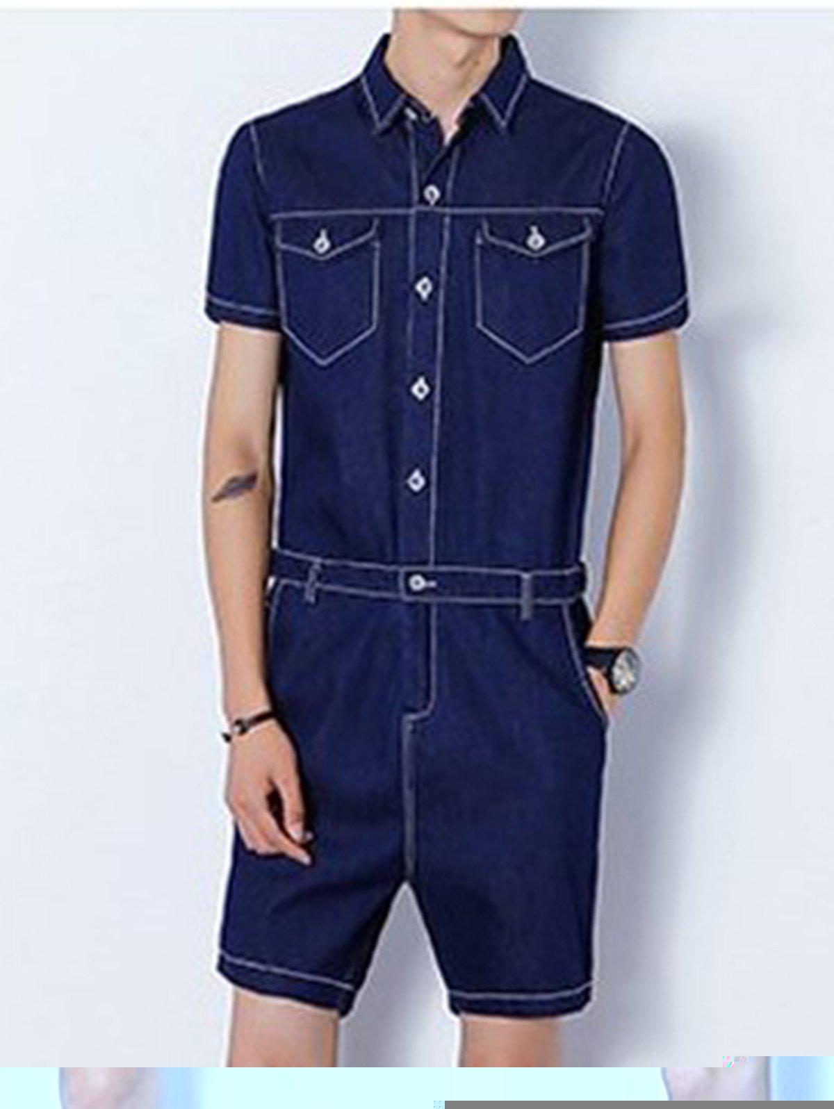 Back Zipper Half Button Up Denim Romper - Bleu Foncé M