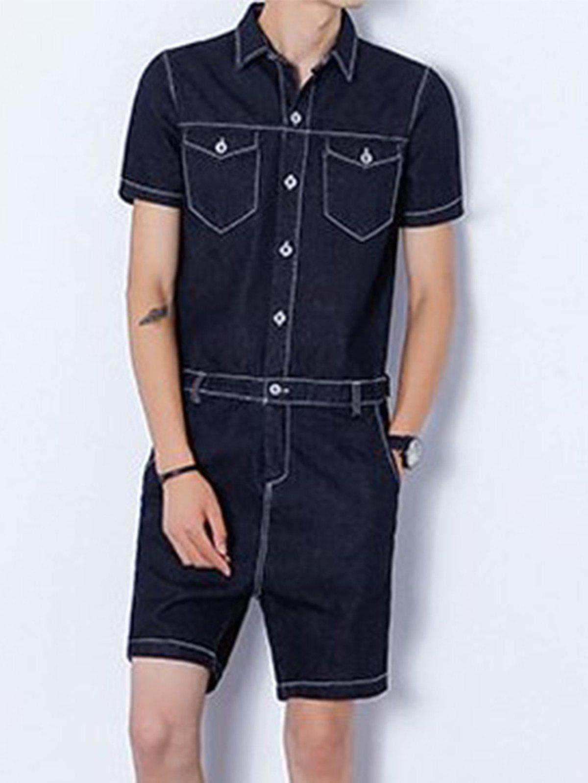 Back Zipper Half Button Up Denim Romper - Noir L
