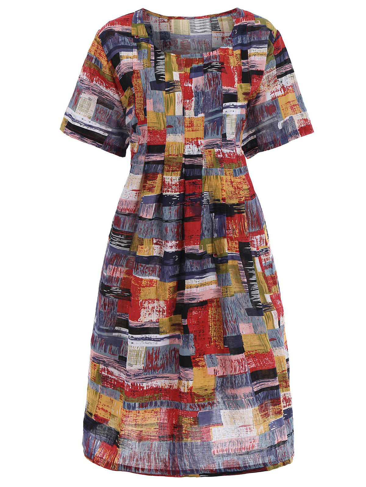 Plus Size Graffiti Casual Dress with Pockets - RED ONE SIZE