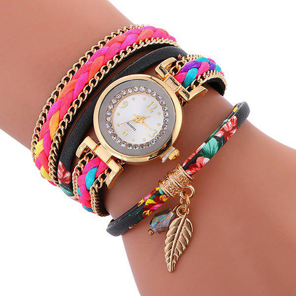 Braided Chain Layered Charm Bracelet Watch - BLACK