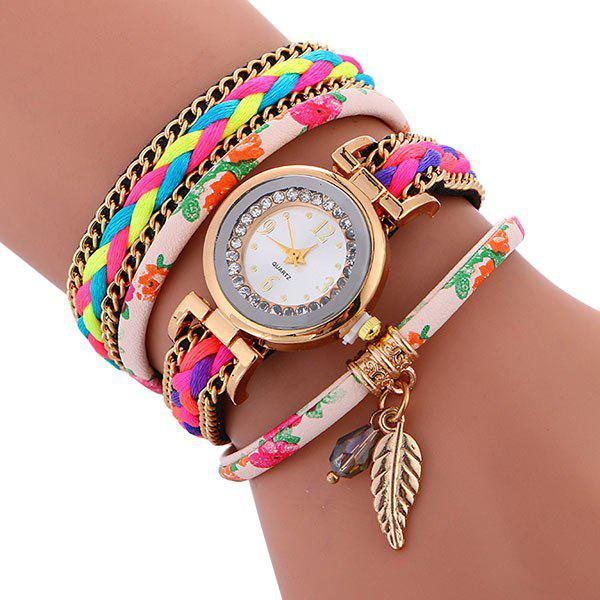 Braided Chain Layered Charm Bracelet Watch - PINK