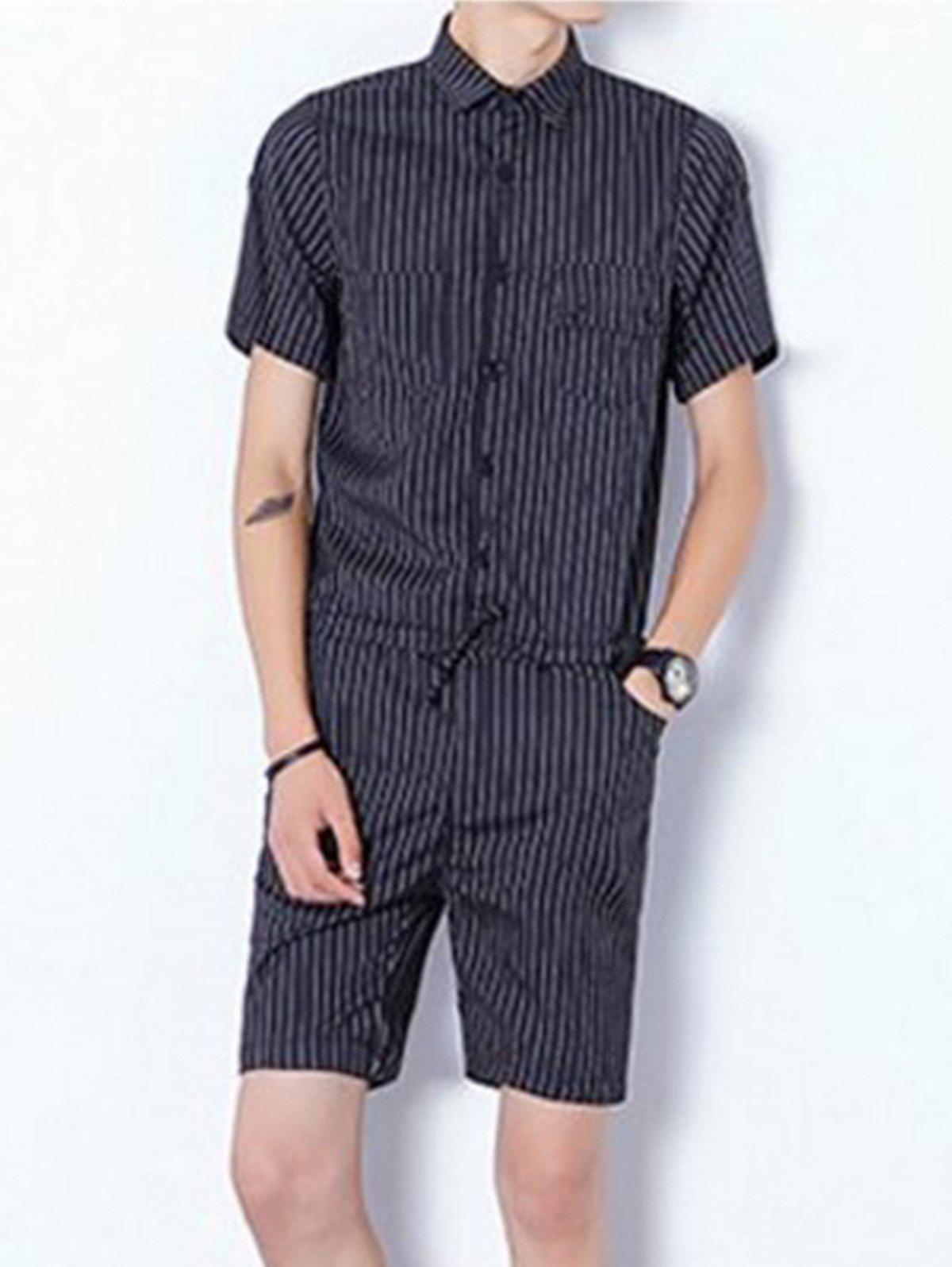 Stried Half Button Up Drawstring Romper - Noir XL