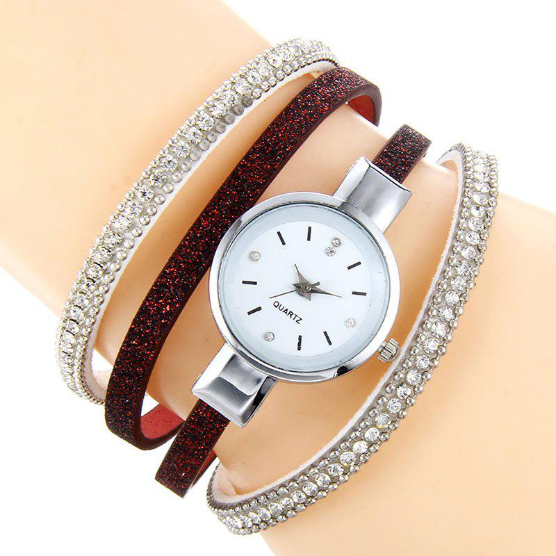Rhinestoned Faux Leather Bracelet Watch rhinestoned faux leather bracelet