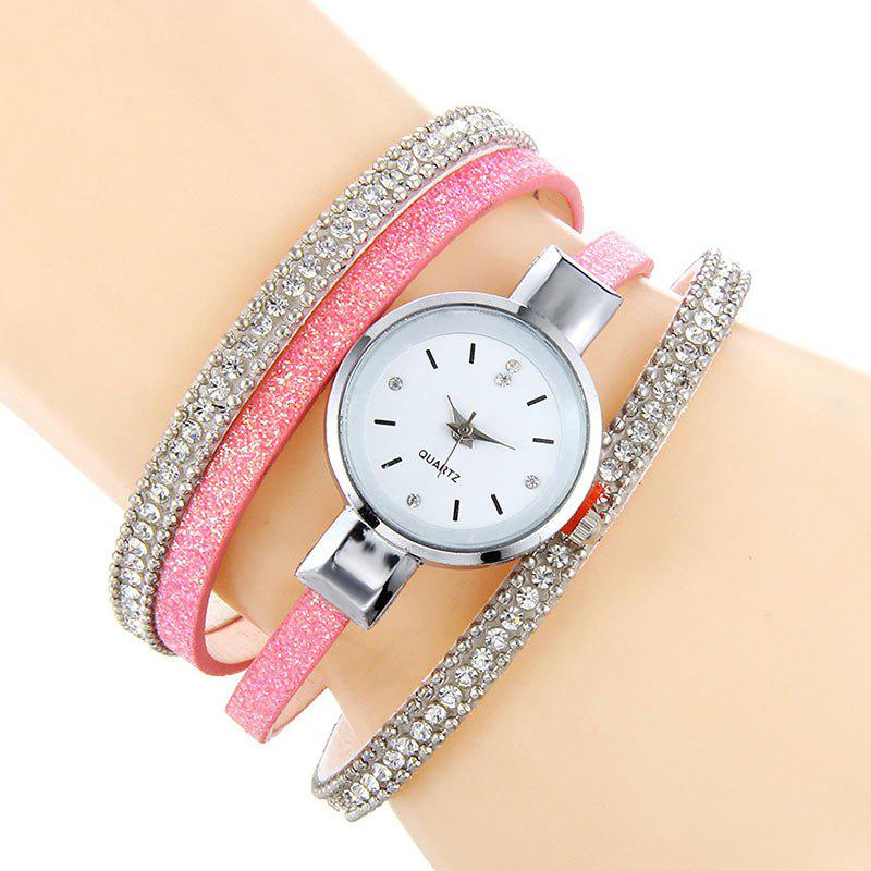 Rhinestoned Faux Leather Bracelet Watch - PINK