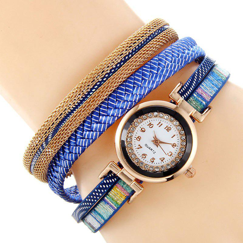 Chain Braided Bracelet Watch - BLUE