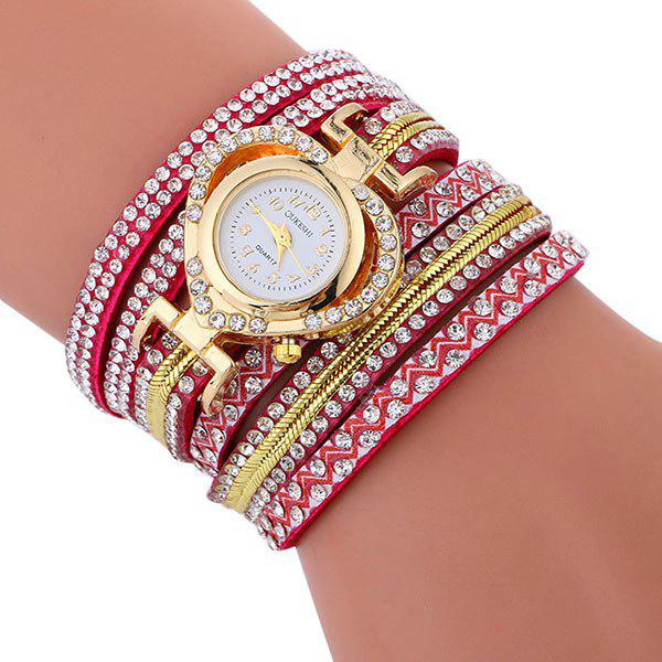 Rhinestoned Faux Leather Heart Watch - TUTTI FRUTTI