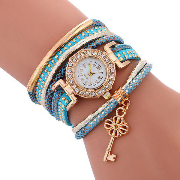 Studded Key Wrap Bracelet Watch - BLUE