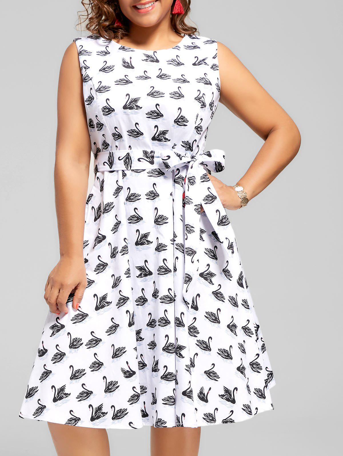 Swan Print Plus Size Midi Vintage Dress - WHITE 4XL
