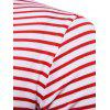 Faux Twinset Stripe Panel Long Sleeve T-shirt - RED STRIPE XL