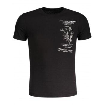 Embroidered Slub Cotton Tee - BLACK BLACK