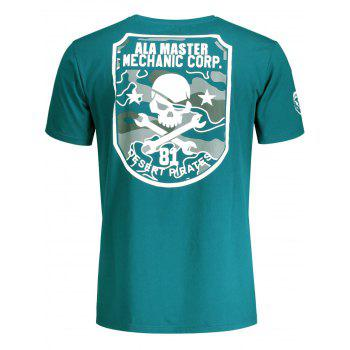 Short Sleeve Skull Graphic Tee - BLUE GREEN M