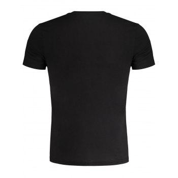 Embroidered Slub Cotton Tee - BLACK 2XL