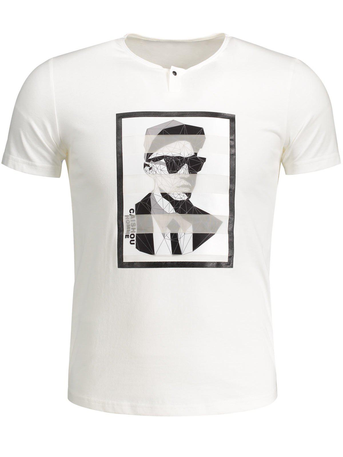 T-shirt en Coton Graphique - Blanc 2XL