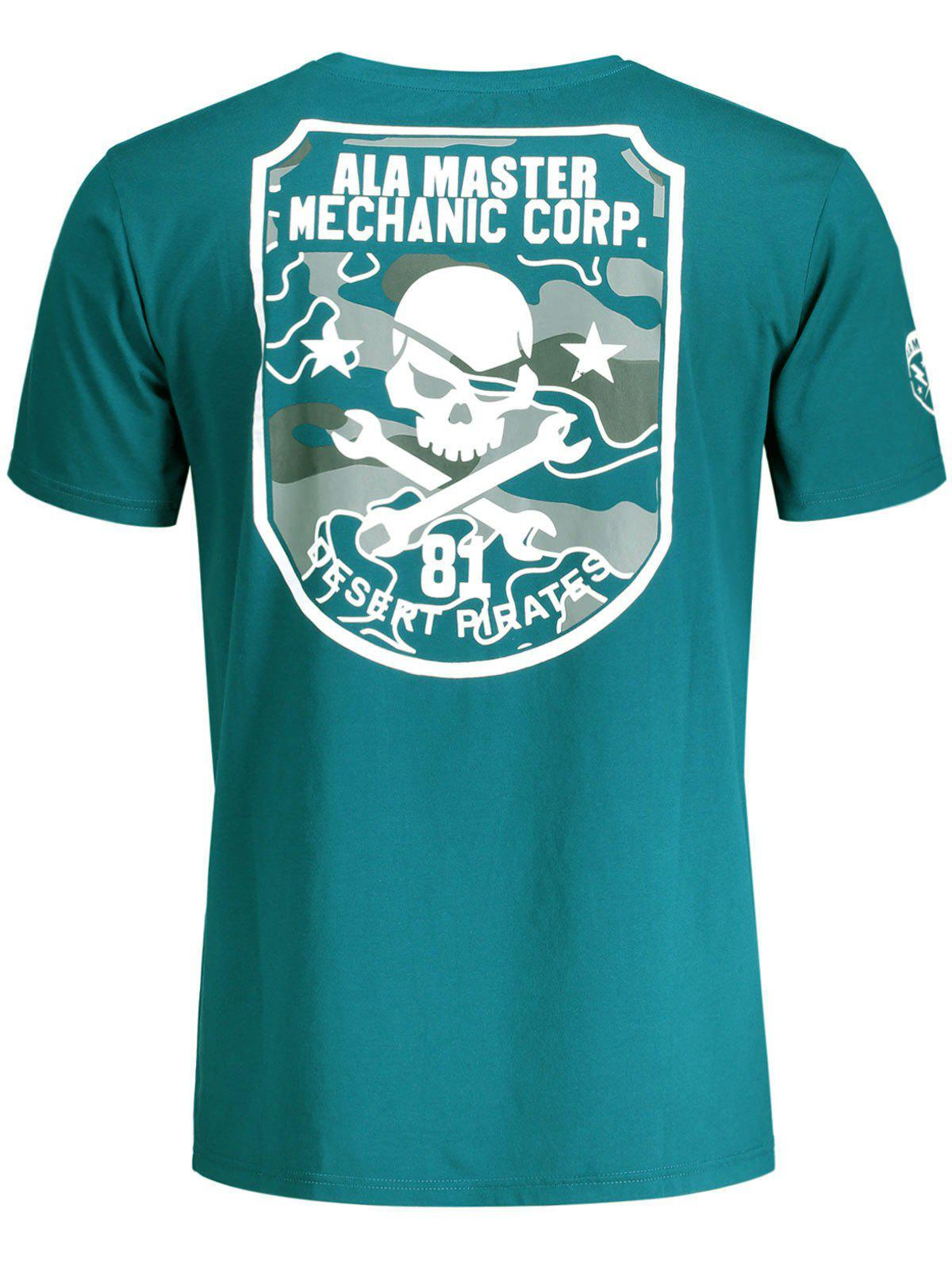 Short Sleeve Skull Graphic Tee - BLUE GREEN 2XL