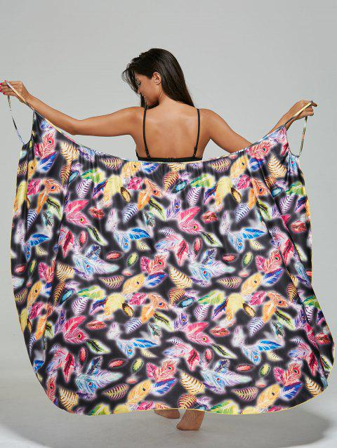 Convertible Feather Print Wrap Sarong Cover-Up Dress - COLORMIX M