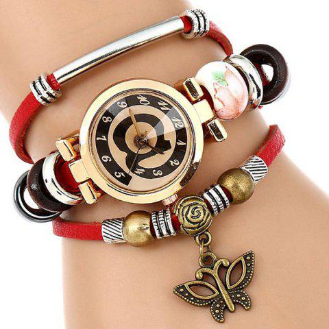 Faux Leather Number Charm Bracelet Watch - RED