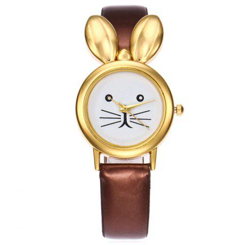 Rabbit Ears Faux Leather Quartz Watch - COFFEE