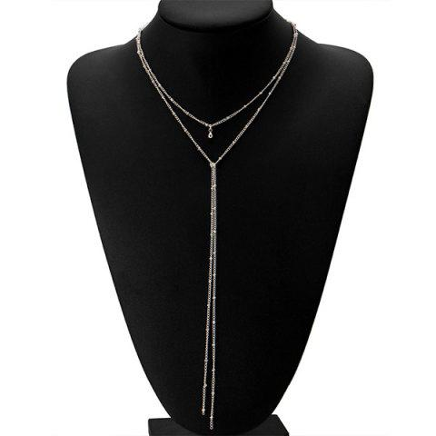 Vintage Alloy Bead Fringed Chain Necklace - SILVER