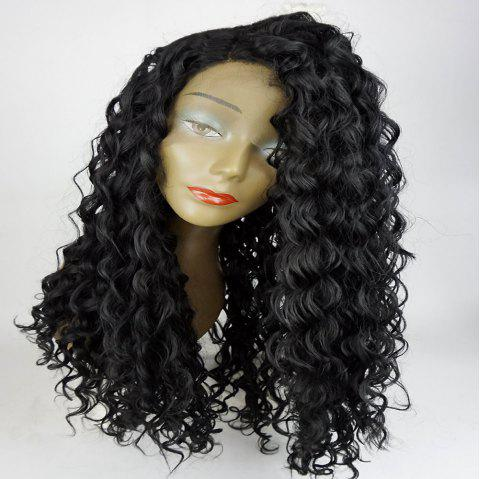 Side Part Shaggy Long Big Curly Lace Front Synthetic Wig - BLACK