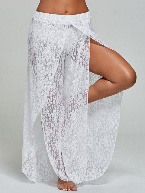 167a051126 17% OFF] 2019 Lace Wide Leg Tulip Swim Cover Up Pants In WHITE ...
