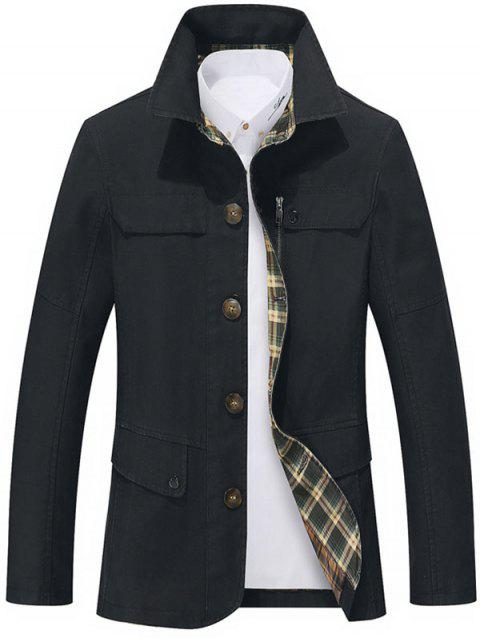 Slim Fit Snap Button Pocket Single Breasted Coat - BLACK XL