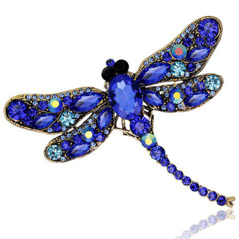 Faux Gem Inlaid Retro Dragonfly Shape Brooch - BLUE