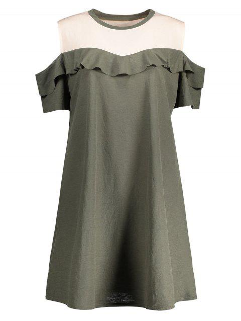 Plus Size Ruffled Cold Shoulder Dress - ARMY GREEN 3XL