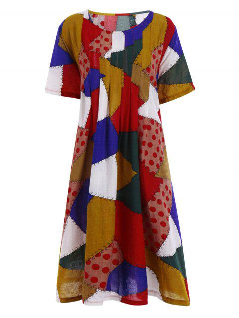 Plus Size Colorful Patched Smock Dress with Pockets - RED ONE SIZE