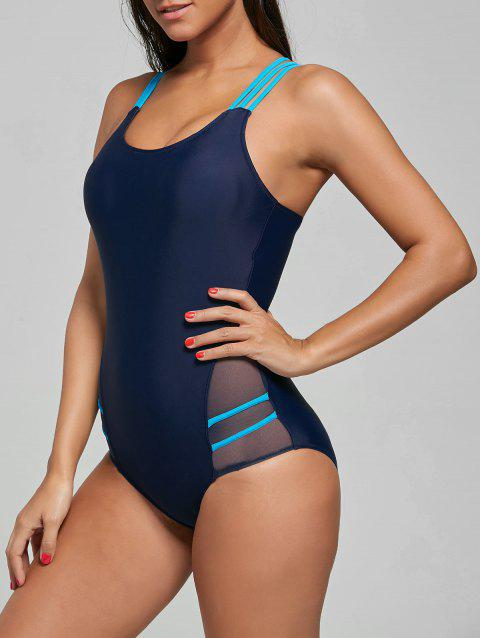 One Piece Straps Sporting Swimsuit - CERULEAN M
