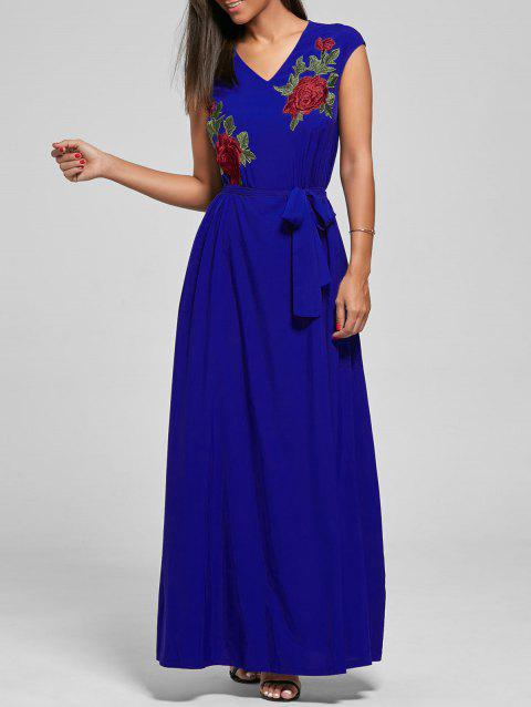Belted Embroidered Maxi Dress - BLUE 2XL