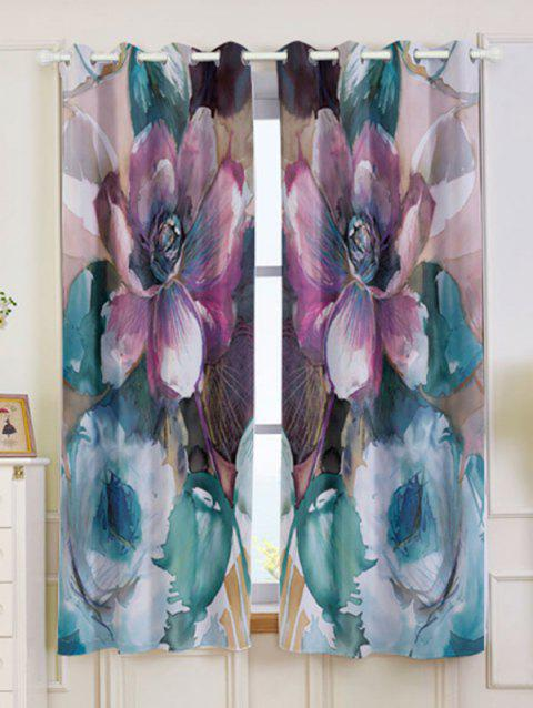 2Pcs Floral Blackout Window Curtain For Bedroom - COLORMIX W53 INCH * L63 INCH