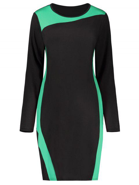 Two Tone Color Block Long Sleeve Plus Size Dress - GREEN 5XL