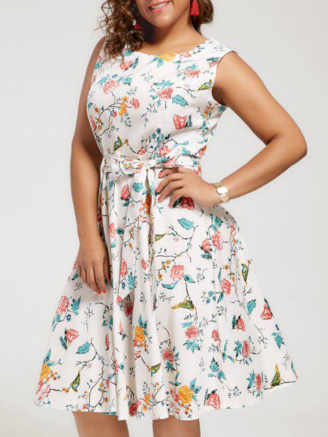 Floral Sleeveless A Line Plus Size Dress - OFF WHITE 4XL