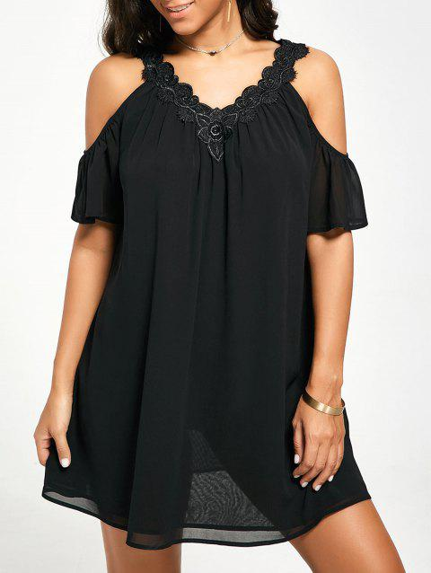Cold Shoulder Mini Chiffon Dress - BLACK L