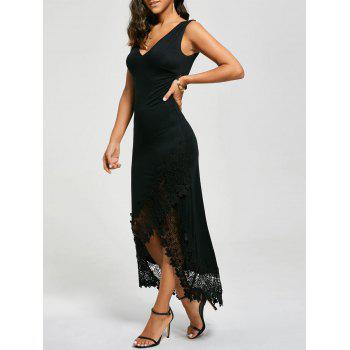 Lace Panel Plunging Sleeveless Maxi Dress