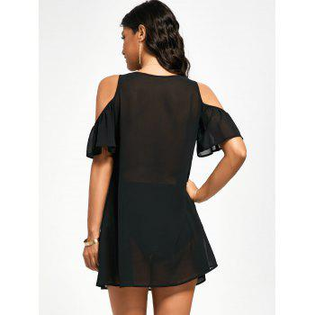 Cold Shoulder Mini Chiffon Dress - BLACK M