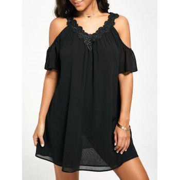 Cold Shoulder Mini Chiffon Dress - BLACK BLACK