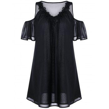 Cold Shoulder Mini Chiffon Dress - BLACK XL