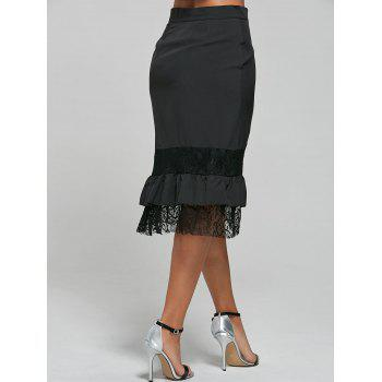 Punk Style Riveted Black Laced Skirt For Women - M M