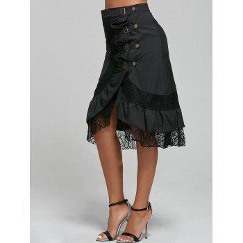Punk Style Riveted Black Laced Skirt For Women - L L