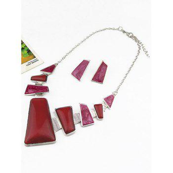 Faux Gemstone Geometric Statement Necklace and Earrings -  TUTTI FRUTTI