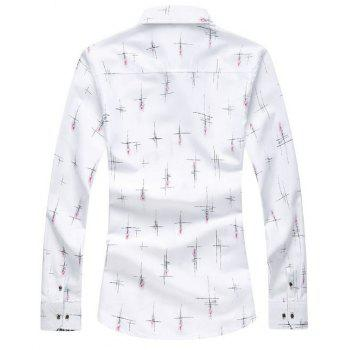 Long Sleeve Crisscross Printed Casual Shirt - WHITE 5XL