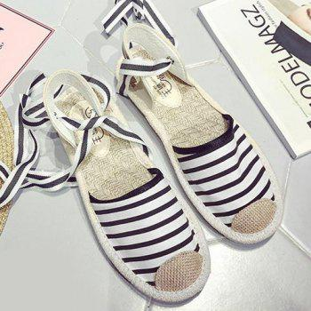 Slingback Canvas Tie Up Sandals - Rayure 39